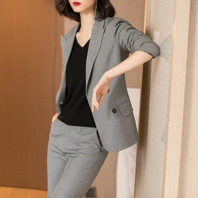 Fashion*超時尚套裝 微彈格紋西裝外套+開叉喇叭褲 兩件套女 顯瘦優雅 知性大方