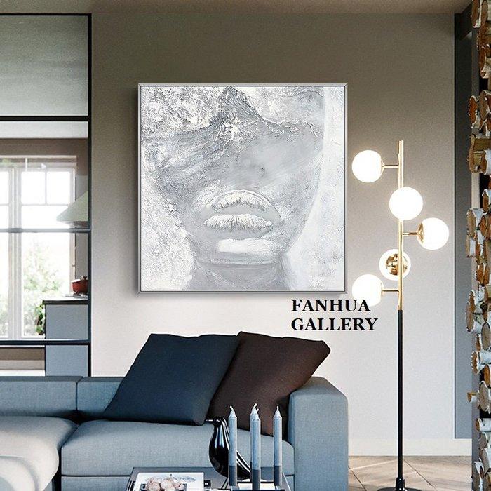 C - R - A - Z - Y - T - O - W - N 純手繪立體油畫灰白抽象人臉油畫方形掛畫玄關藝術裝飾畫