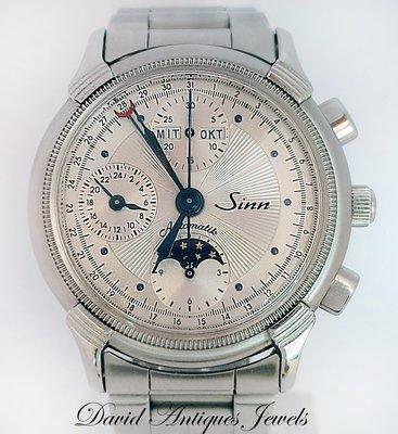 ((天堂鳥)) 德國SINN 6015 日期 星期 月相 計時 自動機械高級多功能錶