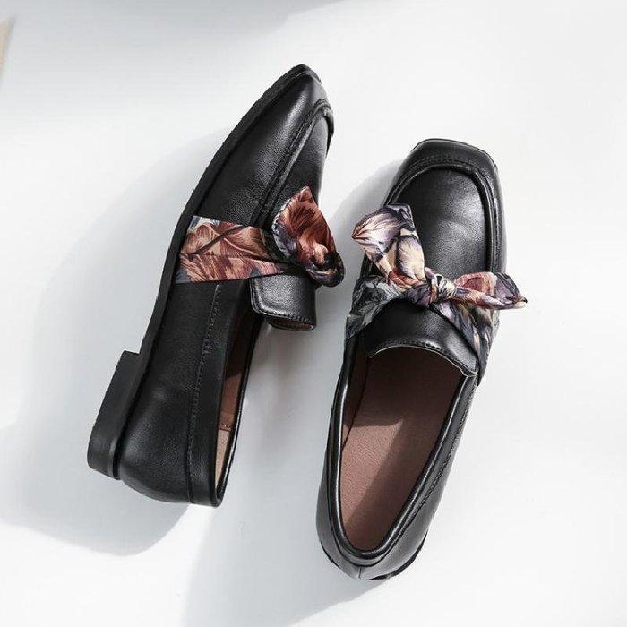 日和生活館 小皮鞋女秋冬季韓版新款英倫休閒女鞋學生蝴蝶結加絨平底單鞋 408D88