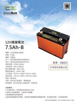 ☆屏東-晟信二輪☆ 台灣精品 RCE 12V鋰鐵電池 7.5AH-B規格 YT9B-BS