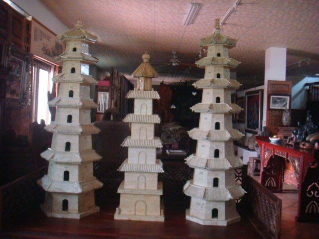 動物骨.象骨.建築城塔(約45x170cm).佛寺精緻擺設(日月雙塔)