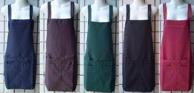 樂樂圍裙屋【錢進5口袋圍裙 咖啡色】 工作圍裙 日式圍裙 工作服 雙層 內裡防水圍裙 生意用