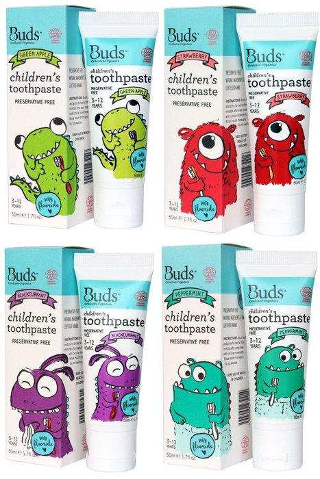 【喜樂之地】澳洲Buds 芽芽有機 口腔護理系列 含氟牙膏 3-12歲 (青蘋果、草莓、黑加侖、薄荷) 50ml