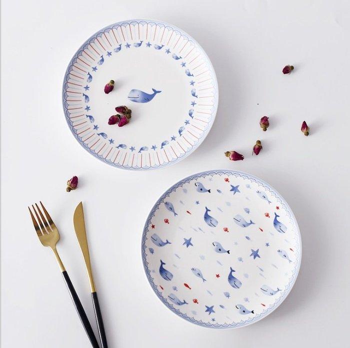 【愛麗絲生活家飾雜貨】日式小清新可愛小海豚8吋陶瓷點心盤/蛋糕盤/水果盤/零食盤/早餐盤