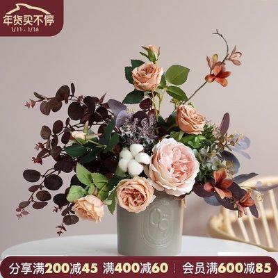 千禧禧居~ladylike復古月季玫瑰樣板房餐桌花 假花仿真花擺件客廳干花花束