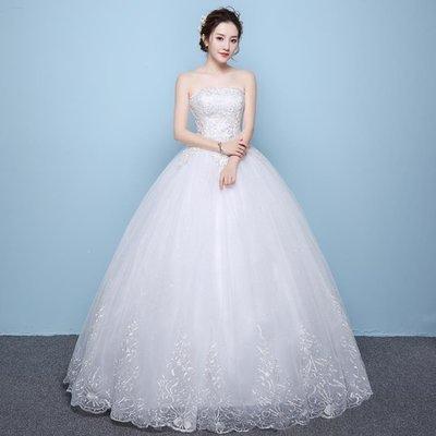 日和生活館 婚紗禮服公主夢幻夏天婚紗新娘夏抹胸白色夏季長拖尾S686