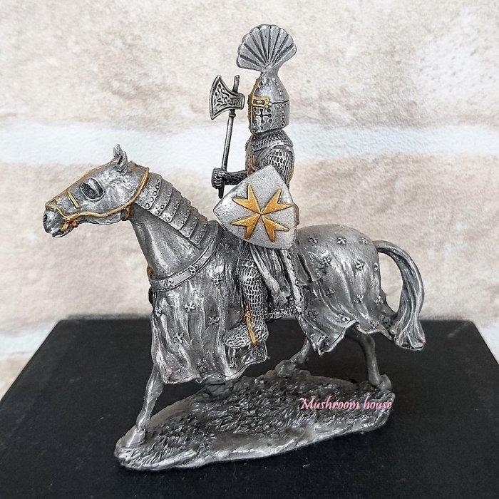 點點蘑菇屋{合金騎士擺飾}合金中古騎士(十一)~左手拿馬爾他徽章盾牌 鐵甲武士 歐洲中古世紀羅馬 盔甲武士 現貨