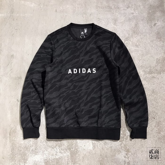 (貳柒商店) adidas GFX Camo Sweatshirt 男款 黑色 迷彩 大學T 衛衣 DT2478