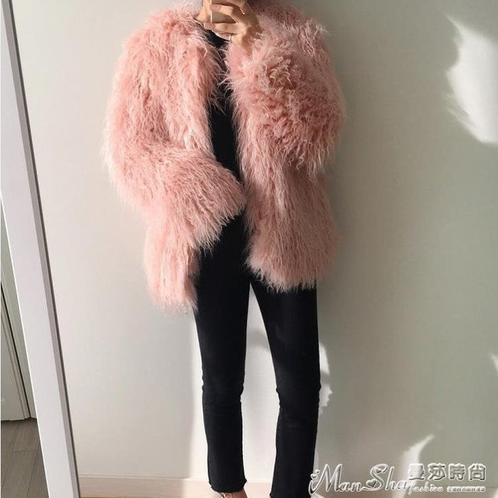 皮草外套秋冬新款皮草外套女粉色時尚顯瘦長毛仿灘羊毛韓版毛毛