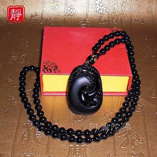 【靜心堂】現貨:黑曜石磨砂*如意貔貅*項鍊--避邪平安(47*31mm)