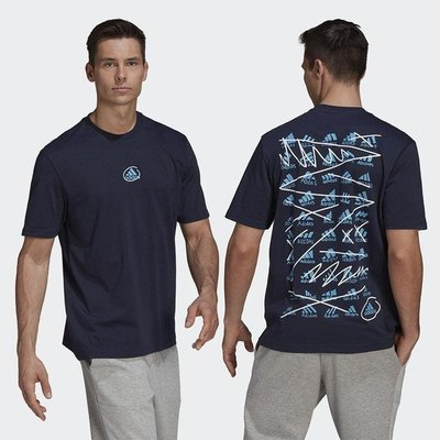 【AIRWINGS】ADIDAS GN6846 男性黑色SCRIBBLE運動短袖T恤
