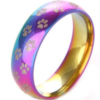 coi jewelry tungsten carbide rainbow pride paws wedding band ring 戒指all sizes