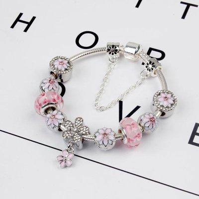 花瓣綻放串飾 歐美木蘭花手鍊 新款粉色桃花 女款首飾yq116