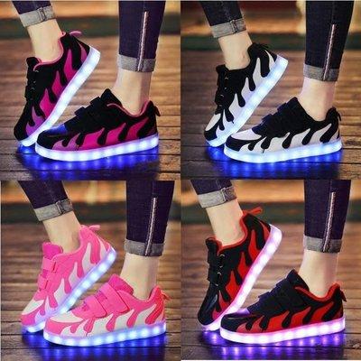 兒童發光鞋USB充電led燈鞋夜光鞋z...