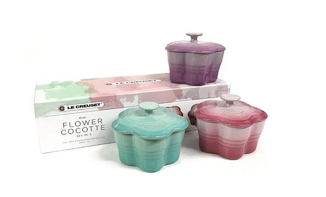 Le Creuset 陶瓷 mini   烤盅 三件一組花盅 烤盅 花型烤盅 附精美禮盒