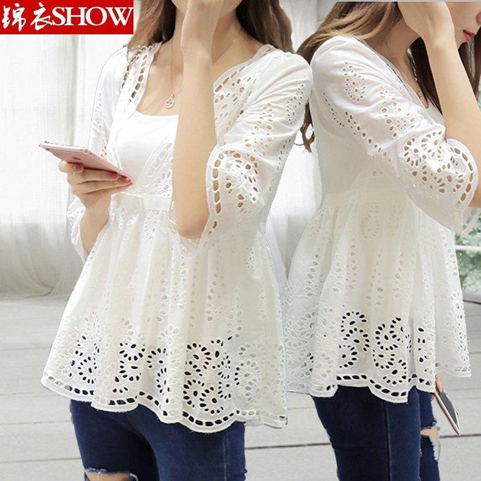 夏季新款女装七分袖显瘦修身韩版宽松白色镂空蕾丝衫雪纺衫上衣女