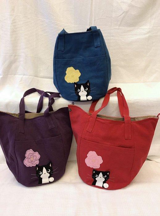 日本卡拉貓~黑貓日花防水側背包