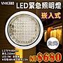 【阿倫燈具】《YVHK380》緊急照明崁燈 崁孔150mm白光 LED-3W 充電48小時可使用1.5小時 停電適用