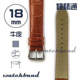 【鐘錶通】C1.21AA《霧面系列》鱷魚格紋-18mm 霧面棕(手拉錶耳)┝手錶錶帶/皮帶/牛皮錶帶┥