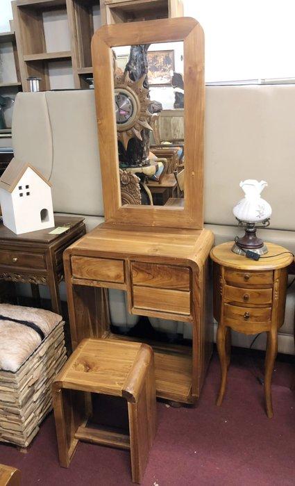 【肯萊柚木傢俱館】100%柚木全實木 手工製作 化妝桌(含椅) 限量商品