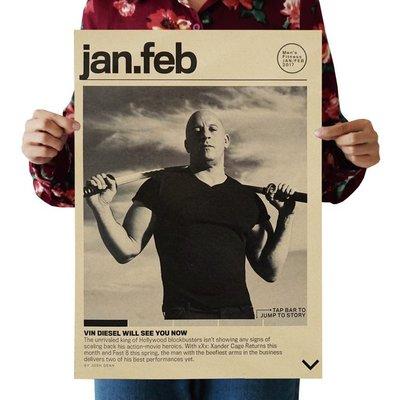 【貼貼屋】馮迪索 唐老大 Vin Diesel 玩命關頭 復古海報 牛皮紙海報 店面裝飾 壁貼 497