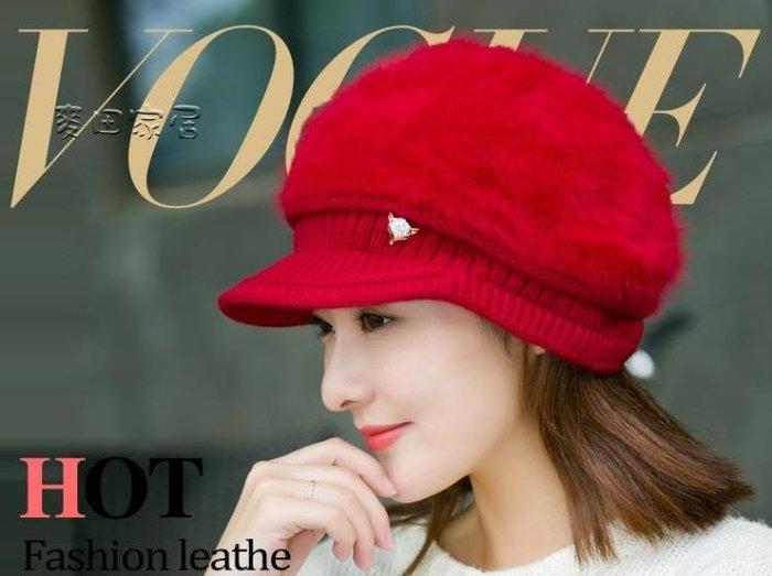 毛帽女韓版針織帽帽子女秋冬天加絨加厚護耳保暖帽貝雷帽鴨舌針織帽兔毛帽