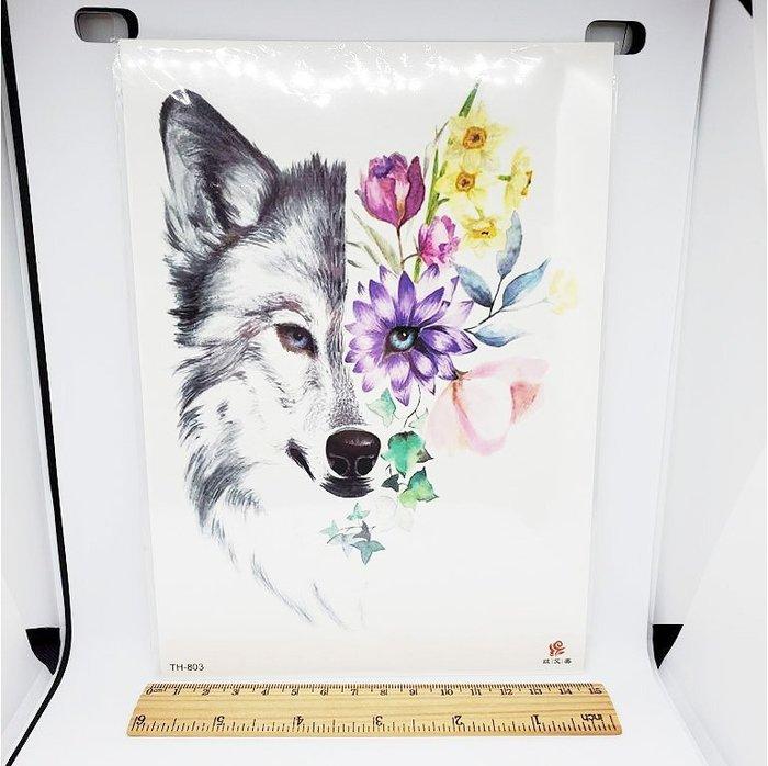 【萌古屋】花朵狼手臂大圖 - 防水紋身貼紙刺青貼紙TH-803