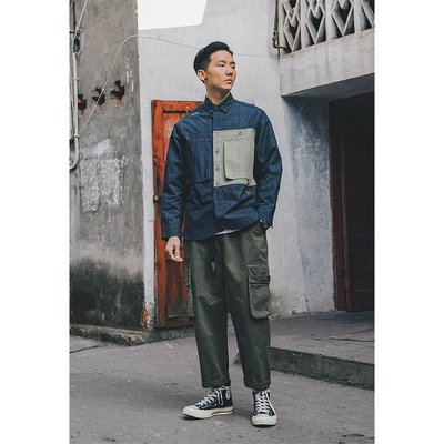 南◇2021 2月 日韓街頭 軍裝 工裝 拼接 牛仔 襯衫 口袋 藍色 綠色 余文樂 休閒 文青 工作 街頭 外套