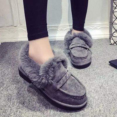 GOGO SHOP☆╭♥GT0029♥加絨豆豆鞋女鞋保暖棉鞋磨砂休閑鞋 平跟低幫單鞋毛毛鞋 雪靴