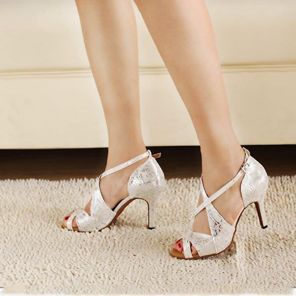 5Cgo【鴿樓】會員有優惠 20107770617 銀色印花拉丁舞鞋 跳舞鞋 舞蹈鞋 女式舞鞋 軟底舞鞋 中跟