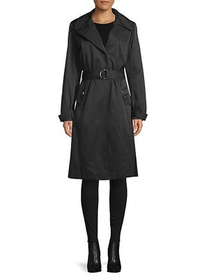 Karl Lagerfeld Paris Water-Resistant Pleated Trench Coat