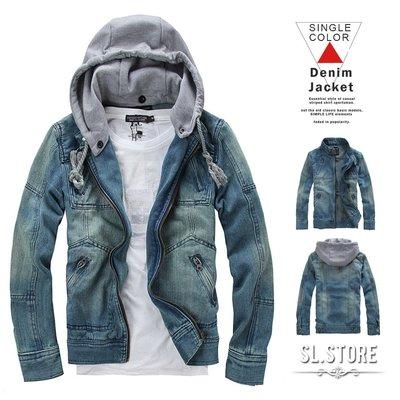 SL Store【D13】騎士風格水洗刷色丹寧.可拆式連帽外套/夾克 .M/L/XL/2XL