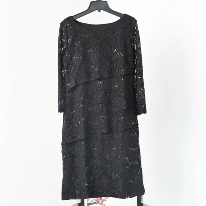 國外帶回縲絲亮片層次洋裝size:14