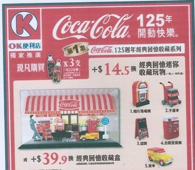 COCA COLA可口可樂125週年經典回憶收 藏盒 加五款迷你收藏玩物
