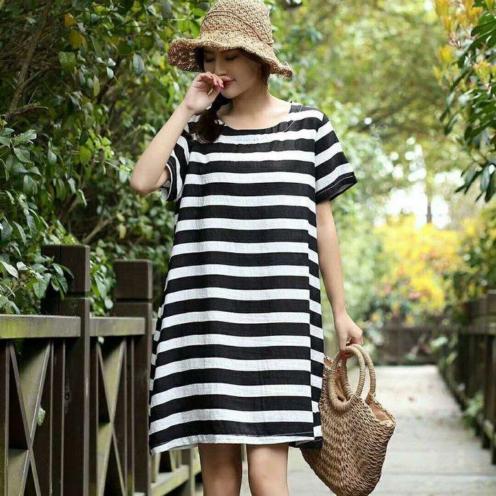 創意夏季女裝 絲麻裙女長裙 夏裝短袖條紋圓領 大碼連衣裙韓版寬松顯瘦女裙女裝