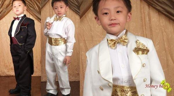 HoneyBaby~NO.673~兒童西裝 男童西裝 6件式燕尾服西裝,限量登場(黑白2色)-男花童 歡樂購999