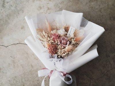 永生花+乾燥花│迷霧粉玫瑰花束│歡迎自...