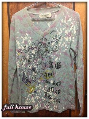 【FULL HOUSE 】人氣品牌Juicy Girl V領 超有型塗鴉潑漆龐克 長袖tee