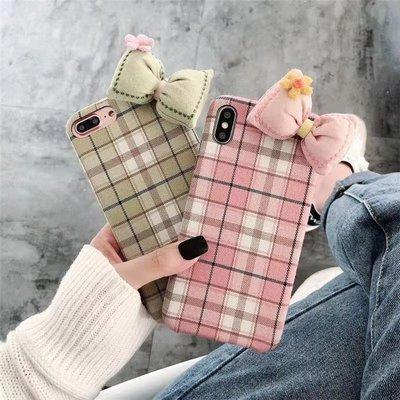 ☆韓元素╭☆Mobile-Style 立體蝴蝶結造型 iPhone 11 保護套 6.1吋 硬式絨布殼 格紋 蝴蝶結
