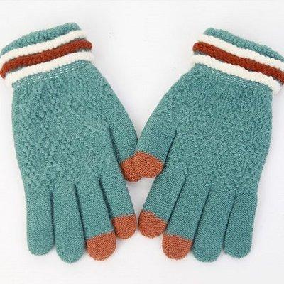 麻花紋 三指觸控手套 針織手套│單一尺寸│僅剩湖藍│z6848