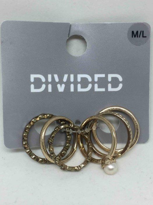 H&M 新款金色 超美雕花戒指六個一組
