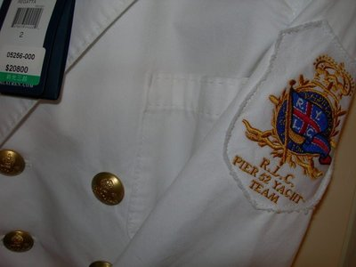 【 Ralph Lauren 】全新100%純棉白色海軍風船錨金扣軍裝西裝外套 (原價$20800)