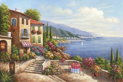三幅一組油畫布 地中海風格風景海景 畫芯/畫布/30X40☺暖暖屋☺傢居藝術館