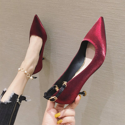 YANGS木易赫本風高跟鞋ins仙氣 網紅色新娘女黑色職業上班綢緞中細跟工作鞋