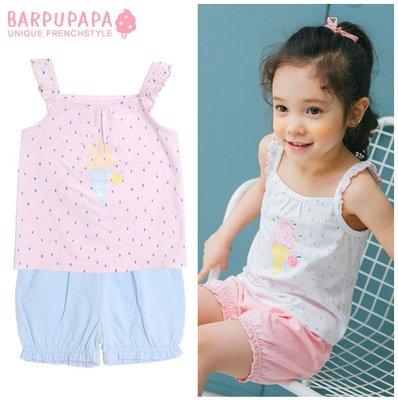 ✽Summer 2019夏新品✽韓國Barpupapa女童滿印點點冰淇淋純棉吊帶居家服套裝