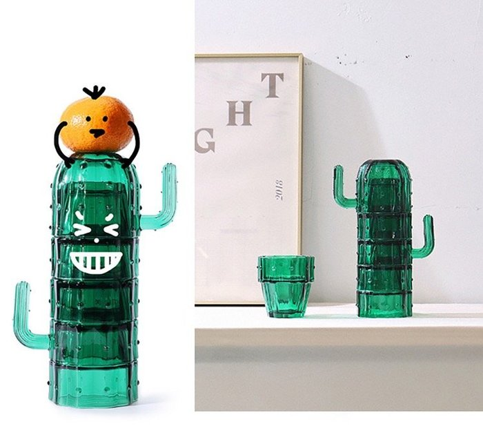 ☆║♥愷心小舖♥║☆北歐風格 ins ig 創意設計 仙人掌冷水杯 玻璃 六件杯組 生日禮物