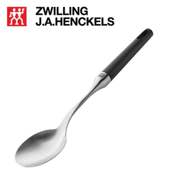 德國 Zwilling 雙人   32.5cm 黑柄 不銹鋼大湯匙分菜匙 中型 湯匙 #37614-000