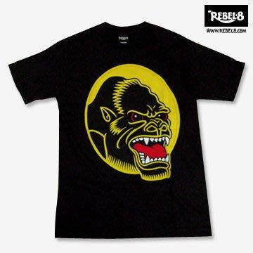 【REBEL8】a raging ape 純棉圓筒Tee (黑色)