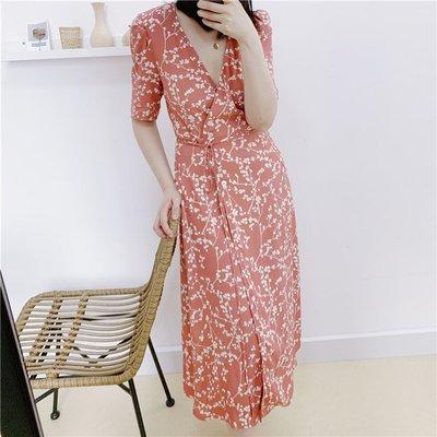 《巴黎拜金女》法國小眾復古桔梗連衣裙碎花茶歇裹裙